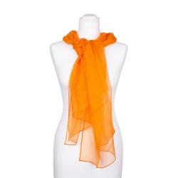 Chiffon Seidenschal Orange 100% reine Seide 180x55cm Damen