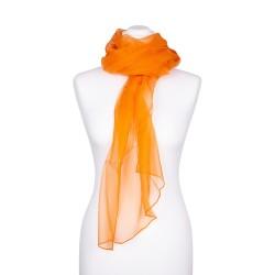Chiffon Seidenschal Orange 100% reine Seide 180x55cm Damen unifarben