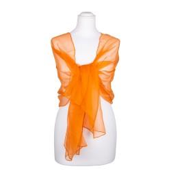 Chiffon Seidenschal Orange 100% reine Seide 180x55cm Seidenstola