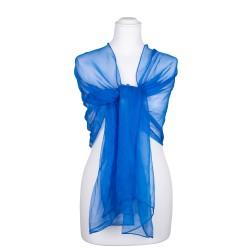 Chiffon-Seidenschal Brillantblau Blau 100% reine Seide 180x55cm Seidenstola