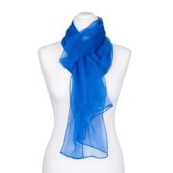 Chiffon-Seidenschal Brillantblau Blau 100% reine Seide 180x55cm Damen