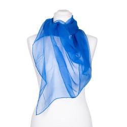 Chiffon-Seidenschal Brillantblau Blau 100% reine Seide 180x55cm einfarbig