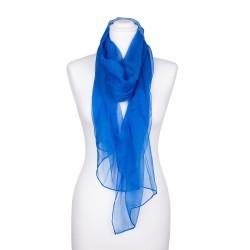 Chiffon-Seidenschal Brillantblau Blau 100% reine Seide 180x55cm uni einfarbig