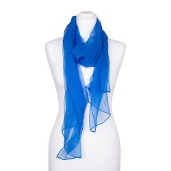 Chiffon-Seidenschal Brillantblau Blau 100% reine Seide 180x55cm unifarben
