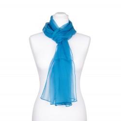 Chiffon-Seidenschal himmelblau hellblau 100% reine Seide 180x55cm einfarbig
