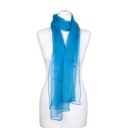 Chiffon-Seidenschal himmelblau hellblau 100% reine Seide 180x55cm Damen