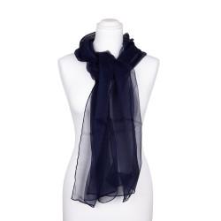 Seidenschal Chiffon blau marineblau 100% reine Seide 180x55cm
