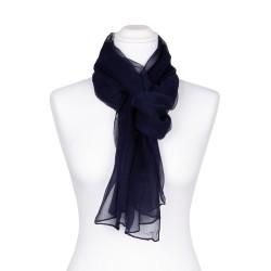 Seidenschal Chiffon blau marineblau 100% reine Seide 180x55cm einfarbig