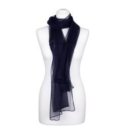 Seidenschal Chiffon blau marineblau 100% reine Seide 180x55cm Damen