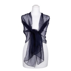 Seidenschal Chiffon blau marineblau 100% reine Seide 180x55cm Seidenstola