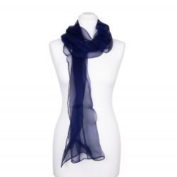 Chiffon-Seidenschal Nachtblau Marine 100% reine Seide 180x55cm uni