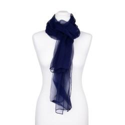 Chiffon-Seidenschal Nachtblau Marine 100% reine Seide 180x55cm einfarbig