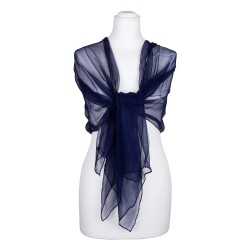 Seidenstola Chiffon Nachtblau Dunkelblau 100% reine Seide 230x55cm einfarbig