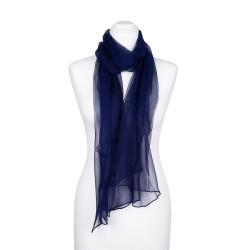 Chiffon-Seidenschal Nachtblau Marine 100% reine Seide 180x55cm