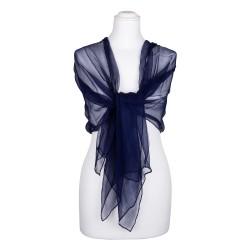 Chiffon-Seidenschal Nachtblau Marine 100% reine Seide 180x55cm Seidenstola