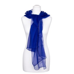 Seidenschal Chiffon royalblau dunkelblau 100% reine Seide 180x55cm