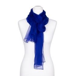 Seidenschal Chiffon royalblau dunkelblau 100% reine Seide 180x55cm unifarben