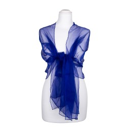 Seidenschal Chiffon royalblau dunkelblau 100% reine Seide 180x55cm Seidenstola