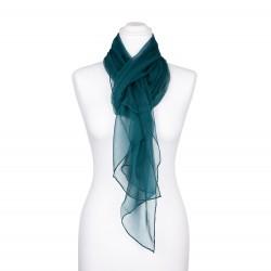 Seidenschal Chiffon jaspis blaugrün dunkelgrün 100% reine Seide 180x55cm einfarbig