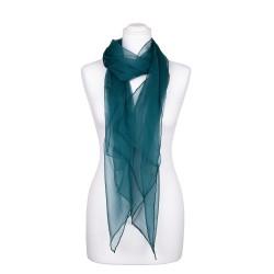 Seidenschal Chiffon jaspis blaugrün dunkelgrün 100% reine Seide 180x55cm unifarben