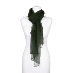 Seidenschal Chiffon Tannengrün Waldgrün Dunkelgrün 100% reine Seide 180x55cm einfarbig