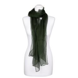 Seidenschal Chiffon Tannengrün dunkelgrün 100% reine Seide 180x55cm Damen