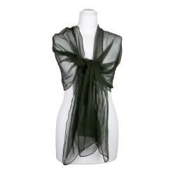 Seidenschal Chiffon tannengrün dunkelgrün 100% reine Seide 180x55cm Seidenstola