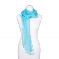 Seidenschal Chiffon türkis hellblau 100% reine Seide 180x55cm