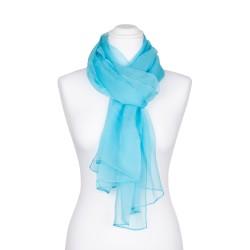 Seidenschal Chiffon türkis hellblau 100% reine Seide 180x55cm einfarbig