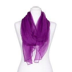 Seidenschal Chiffon Purpur-Violett 100% reine Seide 180x55cm Damen