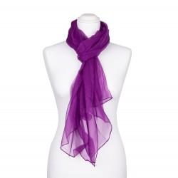 Seidenstola Chiffon purpur violett lila 100% reine Seide 230x55cm unifarben