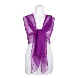 Seidenstola Chiffon purpur violett lila 100% reine Seide 230x55cm einfarbig