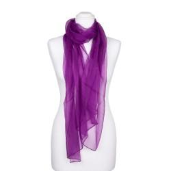 Seidenschal Chiffon Purpur-Violett 100% reine Seide 180x55cm unifarben