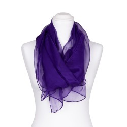 Seidenschal Chiffon violett dunkellila uni 100% reine Seide 180x55cm unifarben