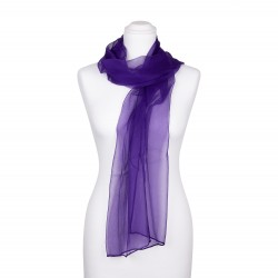 Seidenschal Chiffon violett dunkellila uni 100% reine Seide 180x55cm Damen