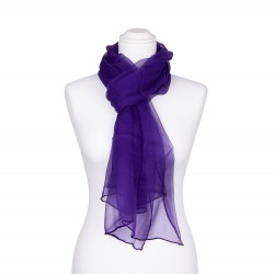 Seidenschal Chiffon violett dunkellila uni 100% reine Seide 180x55cm einfarbig