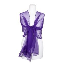 Seidenschal Chiffon violett dunkellila uni 100% reine Seide 180x55cm Seidenstola