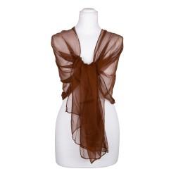 Seidenstola Chiffon braun cappuccino dunkelbraun 100% reine Seide 230x55cm Damen einfarbig