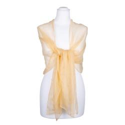 Seidenschal Chiffon sand gelb pastell hellbraun 100% reine Seide 180x55cm Seidenstola