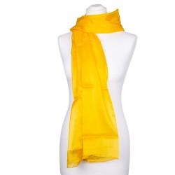 indisch gelber Seidenschal XXL 100% reine Seide 180x90cm Damen gelb