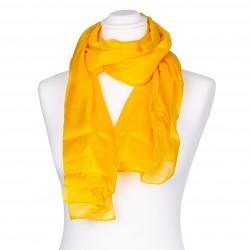 Seidenschal XXL indisch gelb 100% reine Seide 180x90cm uni einfarbig