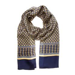 Herrenschal Seidenschal Ornamente gold marineblau