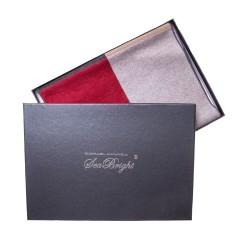 Geschenkverpackung Seidenflanell 180x30cm reine Seide Karo rot grau braun