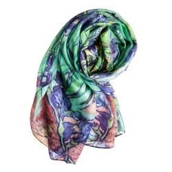 Seidenschal Halstuch Schal Chiffon grün blau Floralprint
