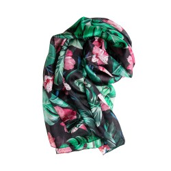 Seidenschal Halstuch Schal Chiffon schwarz Floralprint grün rosa
