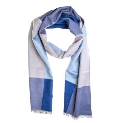 Seidenflanell Schal Halstuch Karo grau blau 180x30 cm reine Seide