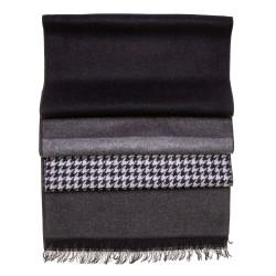 Seidenflanell Schal Hahnentritt schwarz grau 180x30 cm reine Seide