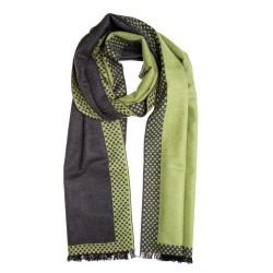 Seidenflanell Schal Halstuch Punkte grau grün 180x30 cm reine Seide