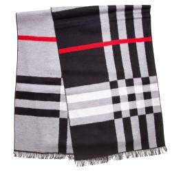 Seidenflanell Schal Halstuch kariert schwarz weiß rot 180x30 cm reine Seide