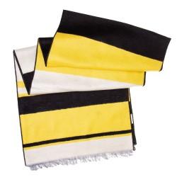 Seidenflanell Schal Halstuch schwarz weiß gelb gestreift